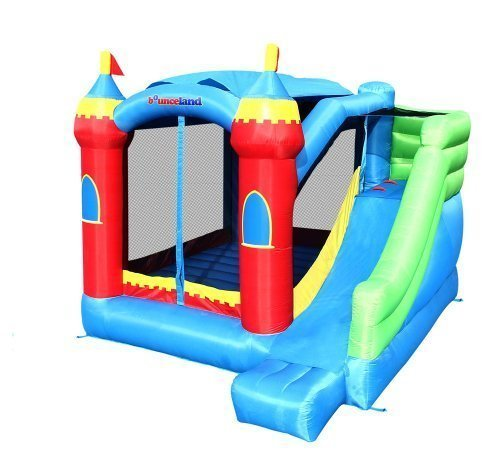 Bounceland Royal Palace Inflatable Bounce House, with Long Slide, Large Bouncing Area, Basketball Hoop and Sun Roof, 13 ft x 12 ft x 9 ft H, UL Strong Certified Blower, Castle Kids Party Theme