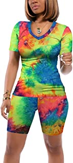 JNINTH Two Piece Tie Dye Outfits Casual V Neck Women Tracksuits Shorts Sets