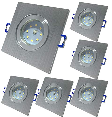 LED Bad Einbauleuchten 12V inkl. 6 x 5W SMD LM Farbe BiColor IP44 LED Einbaustrahler Neptun Eckig 4000K Deckenspots