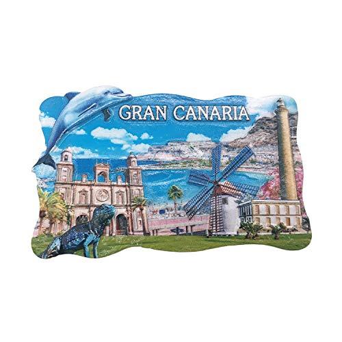 3D Gran Canaria Spagna Frigorifero Magnete Frigo Souvenir turistici Mestiere in Resina Fatti a Mano...