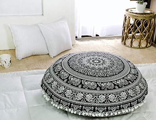 Popular Handicrafts Large Hippie Elephant Mandala Floor Pillow Cover - Cushion Cover - Pouf Cover Round Bohemian Yoga Decor Floor Cushion Case- 32 Black and White