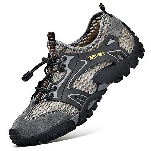 Uomo Scarpe da Trekking Scarpe da Spiaggia Acqua Sandali Sneakers Sportivi All aperto Scarpe Pescatore Piscina Acqua Mare Escursionismo Leggero Scarpa (44 EU, Grigio)