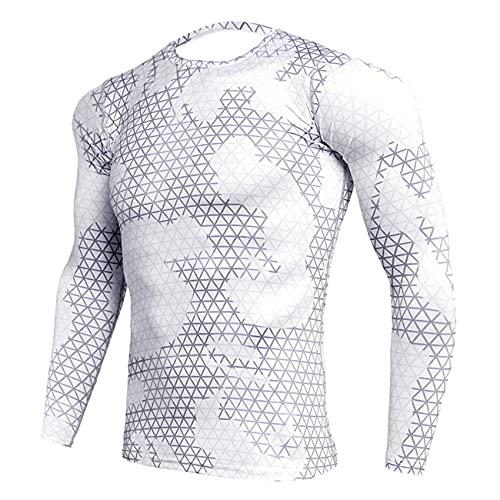 Maglietta da Corsa Uomo Moda Mimetica Camicia a Compressione Uomo Traspirante Outdoor Ciclismo Felpa Uomo Girocollo Camicia da Allenamento in Esecuzione Jogging Palestra t-Shirt XXL