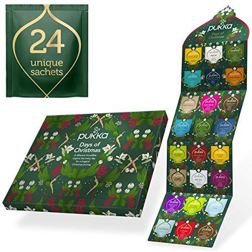 Pukka Herbs 2021 Tea Advent Calendar, The Perfect Non-Chocolate Christmas Countdown for Tea Lovers, 24 Sachets of Organic Herbal Tea