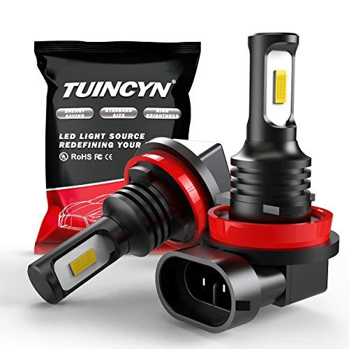 TUINCYN Extrêmement lumineux H11 H9 H8 Ampoule antibrouillard LED Blanc 6500K 2400 Lumens 3570 CSP-Chips Feux de jour / Lampe de conduite DRL (Pack de 2)