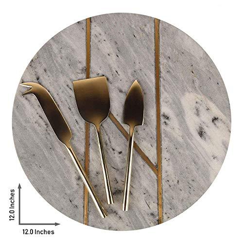 GAURI KOHLI Grijze kaasplank met gouden sierlijst; met set van 3 messen van messen van messen (groot formaat 12