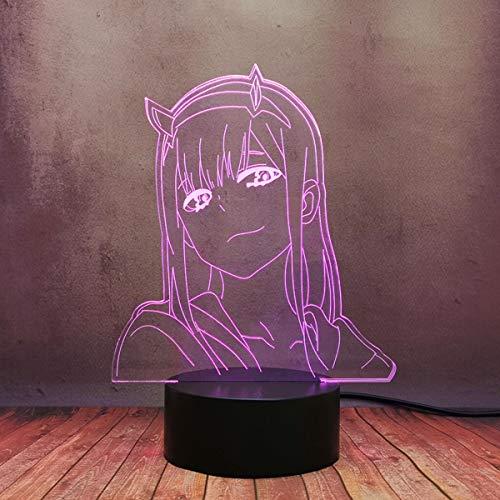 Darling in The FRANXX Anime Creative Night Light 3D LED 16 cambios de color y 4 modos de flashZero Two Girl Model Decor Lámpara de mesa con control remoto táctil