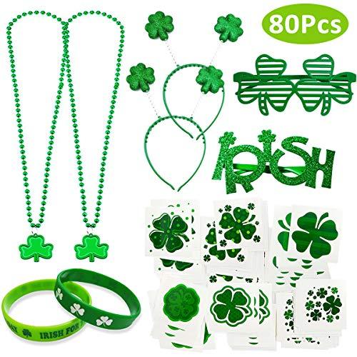 DANXIAN St Patricks Day Accessoires, 72 Temporären Shamrock-Tattoos und Shamrock-Halskette für Erwachsene Frauen Männer Kinder St. Patricks Day Deko