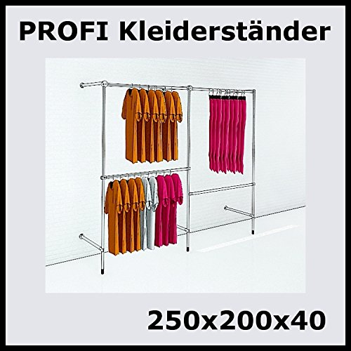 250x200x40 Profi Kleiderständer Ankleidezimmer Garderobe Metall Silber P250R