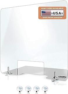 GUARDMATE   Plexiglass Shield Premium Commercial Grade Sneeze Guard   Acrylic Divider Portable Plastic Barrier Shield Rece...