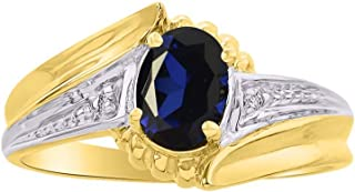 Stunning Diamond & Blue Sapphire Ring Set In Yellow Gold Plated Silver .925