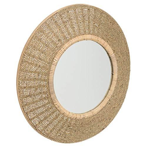 Espejo de Cuerda rústico Beige de Fibra Natural, de ø 60 cm - LOLAhome