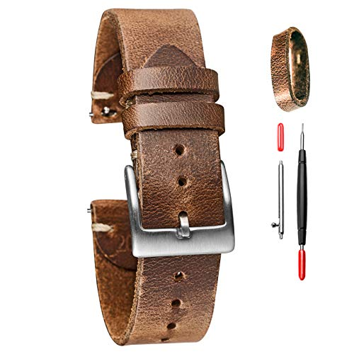 Horween - Correa de reloj de piel para hombre y mujer, 18 mm, 20 mm, 22 mm, liberación rápida, hecha a mano, suave y vintage 22MM Natural
