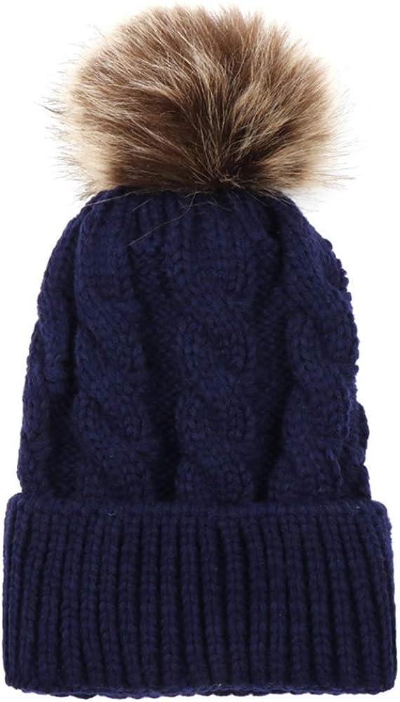 Eternal Berry Kids Winter Toddler Cable Knit Children's Pom Winter Faux Fur Hat