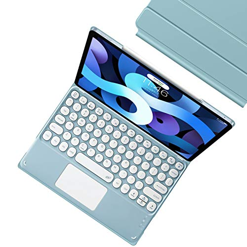 HaoHZ Keyboard Case for Ipad Air 10.9 2020 (4Th Generation), Magnetic Attachment Case, Wireless Detachable Keyboard with Touchpad,Blue