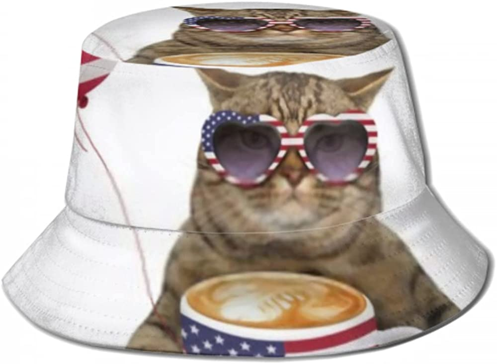Fashion Sun Cap free shipping Beige Cat Patriot Big Holding Bucket Sunglasses Hat