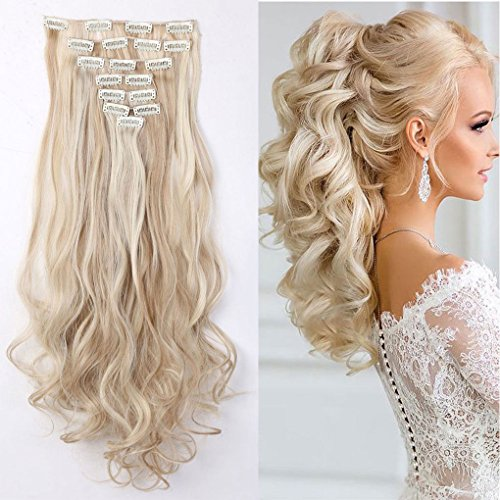 60cm 8 teiliges SET Clip In Hair Extensions Haarverlängerung Full Head Haarteil Haarverdichtung (Wellig,Sandblond & Bleichmittel Blond)