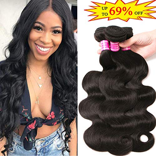 Brazilian Virgin Hair 3 Bundles 10 12 14 inch Body Wave 10A 100% Unprocessed Virgin Human Hair Bundles Weave Extensions Natural Black Color Remy Hair
