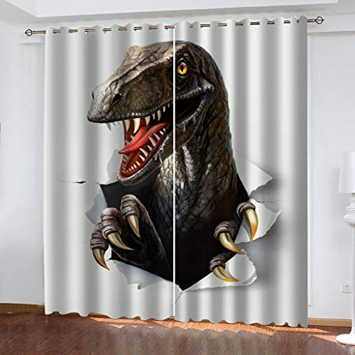 OIUEUNM Animal dinosaur Blackout Curtains 2 Panels Top Eyelet Solid Thermal Insulated Curtains for Bedroom/Living Room-264cmX 213cm