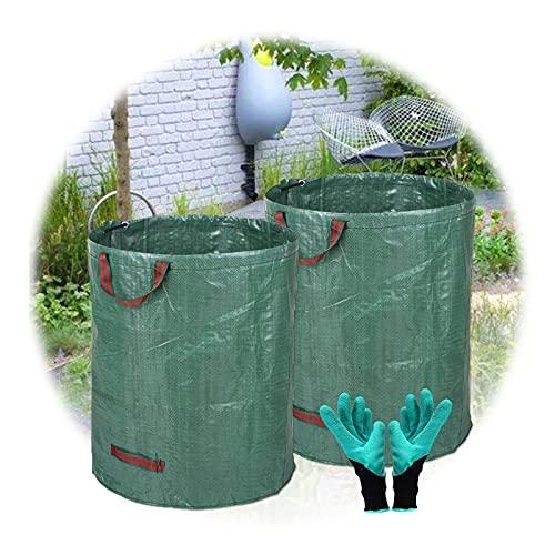 ZHANGXJ 272 litros Bolsas para Desechos De Jardín Paquete de 2, Plegable Tarea Pesada Grande Rechazar Sacos con Asas, Bolsas de Hierba de Hoja 1 par Guantes de jardineria