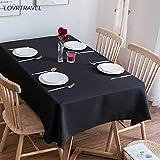 Mantel Rectangular sólido Negro Camp Hotel Fiesta de Bodas Mantel Cuadrado Mesa de Comedor y Cubierta de Mesa de café 140X280cm Negro
