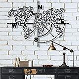 Metal World Map Wall Art Geometric Compass, Metal Wall Decor Art Work, Metal Sign, Metal Wall Art, Metal Art, Wall Decoration Home Decor (Black, 40' W x 30' H / 101x76 cm)