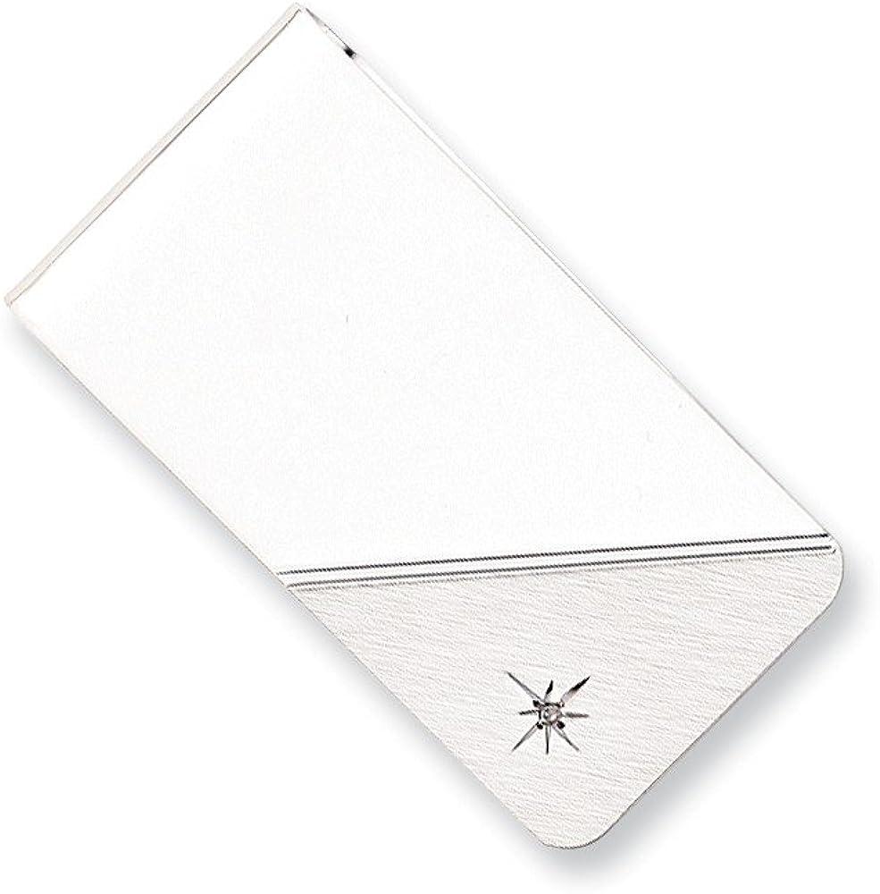 Solid Star .01ct. Diamond Slim Business Credit Card Holder Money Clip - 50mm x 25mm