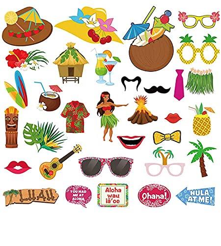 Xiangmall 34 Pezzi Hawaii Photo Booth Props Decorazioni Tropical Party Puntelli Photo Accessori Spiaggia Piscina Festa