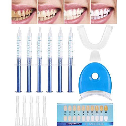 Teeth Whitening Kit Bleaching Gel, Teeth Whitening Kit, Zahnaufhellung Set mit LED-Licht, 6 Zahnaufhellung Stift, Wiederverwendbares Home Bleaching Kit für Weisse Zähne Zahnweiß Bleichsystem