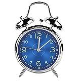 Iadong 目覚まし時計 アナログ 、4インチ 金属双鈴石英 アイデア電子目覚まし時計、設置しやすいデジタル目覚まし時計、電池式、プレゼント、ブルー