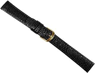 Eidechsenprägung Ersatzband Uhrenarmband Kalbsleder Schwarz 20549G, Stegbreite:20mm