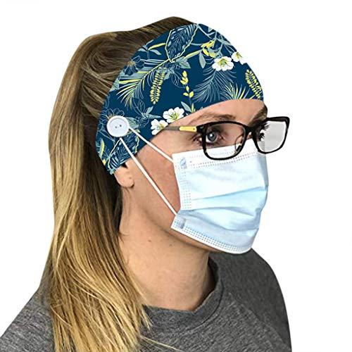 Fenverk Tie Dye Stirnband Hippie Elastisch Bandana Kopf Abdeckung Wickeln Für Männer & Frauen Psychedelisch Blume Muster,Mit Knopf,optimalen Ohrenschutz beim(B#01)