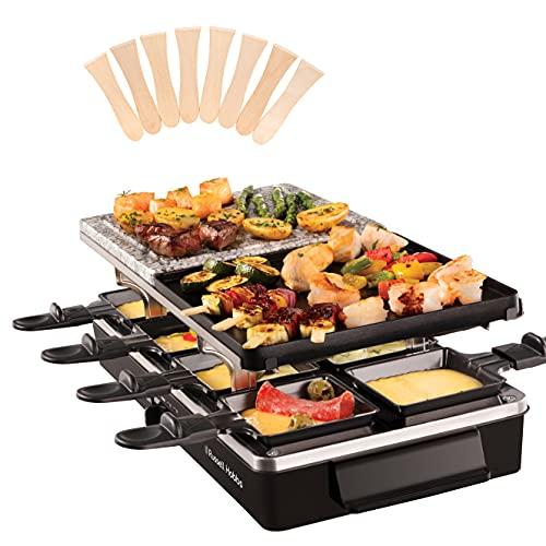 Russell Hobbs Appareil Raclette Multifonction 8 Personnes 1400W, Pierrade, Grill Réversible, Pièces Compatibles Lave-Vaisselle - 26280-56