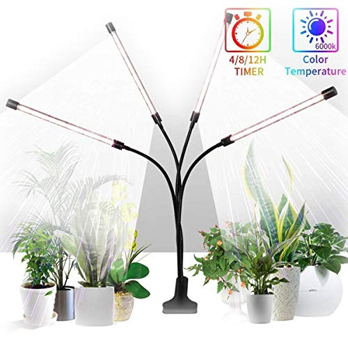 Colorful life LED Clip Plant Light Imitating Sunlight Full Spectrum 4 Tube Memory Timing Cycle Dimming, Used for Seedling Growth, Flowering and Fruiting