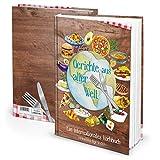 Logbuch-Verlag - Libro de recetas para escribir con y sin esquinas metálicas (papel kraft), color verde y plateado, color Platos de todo el mundo. ohne Metallecken