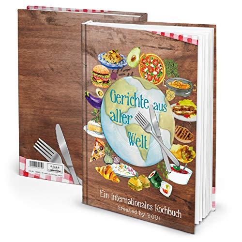 Eigen receptenboek, DIN A4, gebonden, uit alle wereld receptenboek om zelf te schrijven, internationaal kookboek, leeg met inhoudsopgave