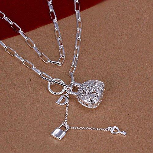 Geblokte Ketting Hangende Tas 18 inch Lock Hanger Zilveren Ketting, zilver