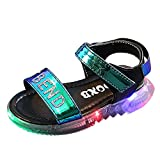 Baby Girls Sandals Little Kids Toddler Newborn Luminous LED Light Up Princess Open-Toe Slippers Summer Boots Crib Shoes (Black, 3-3.5 Years old)