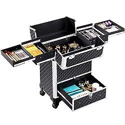 Organizzazione: la valigetta porta trucchi contiene 4 vassoi estraibili e retrattili per mantenere piccoli oggetti ordinati, come smalti, rossetti, ombretti ecc. Dimensioni del vassoio retrattile: 18,5 x 14,5 x 3,5 cm. La valigia è dotata di 2 chiavi...