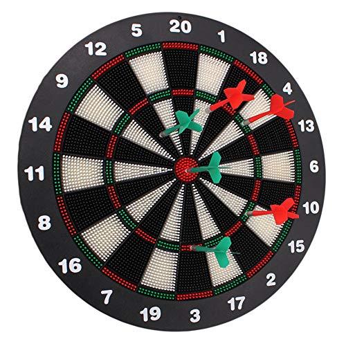 HLDUYIN Dartscheibe Board X1 mit Pfeilen, 42 cm, 6 x Pfeile, zweiseitig, Steeldarts, Dartboard klassisch,Safety Darts Weichplastikkopf Dart Board Set