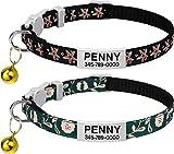 TagME Personalisiertes Katzenhalsband, Katzenhalsband Sicherheitsverschluss, Mit Name und Telefonnummer, 2-Stück Verstellbar Halsband Katze Kitten, Schwarz