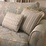 Loome Porchester 'Rococo blu grande modello': crema e blu damascato tessuto da tappezzeria tessuto, Porchester 'Rococo Blue Large Pattern' : Cream, per metre