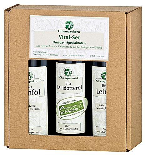 Chiemgaukorn Bio Omega-3-Öle Probierset, je 100 ml Hanföl, Leinöl, Leindotteröl nativ