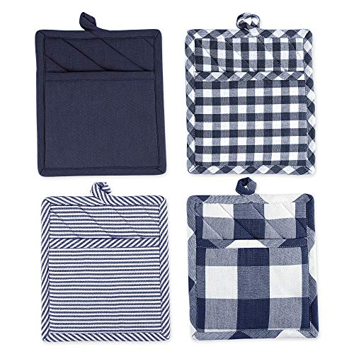 DII Kitchen Collection Gingham Check, Potholder S/4, Navy/Off-White