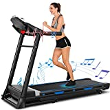 ANCHEER 3.25HP Folding Treadmill T950 APP Control,Automatic Incline Treadmill, Walking Running Jogging Running Machine for Home Gym Cardio Exercise (Black)