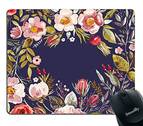 Gaming Mouse Pad Custom,Mouse Pad Unique Mousepad Vintage Hand Drawn Floral Wreath Stitched Edge Non-Slip Rubber 9.5x7.9-Inch