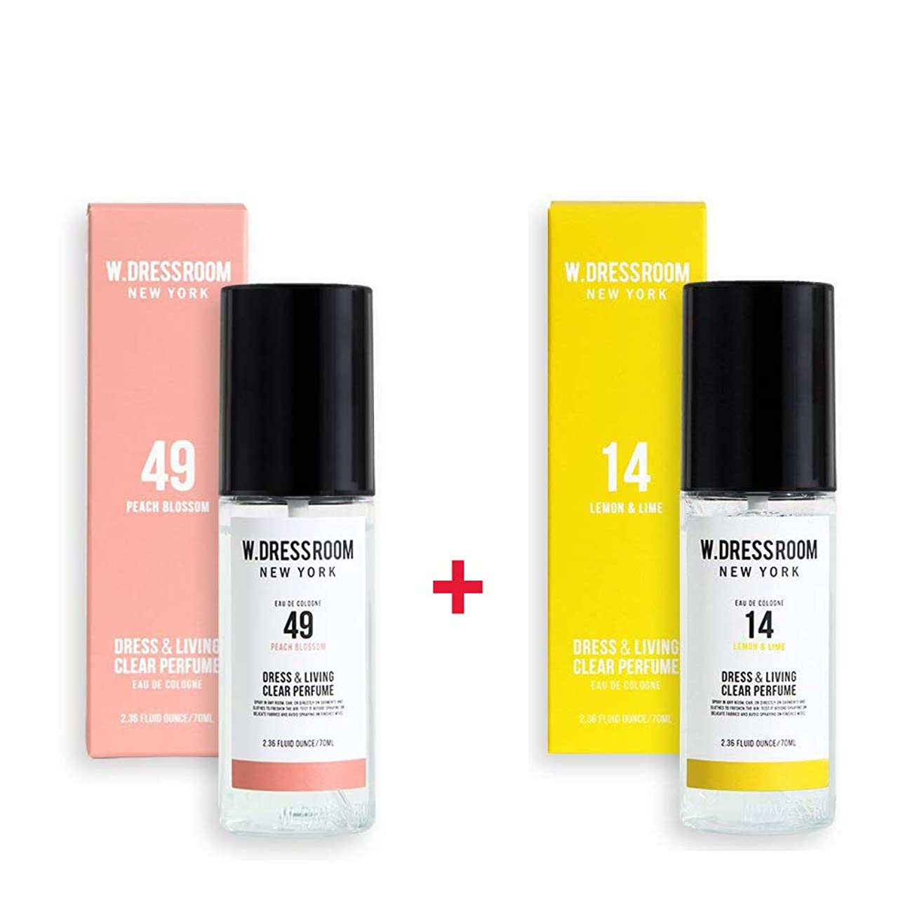 天囲むパステルW.DRESSROOM Dress & Living Clear Perfume 70ml (No 49 Peach Blossom)+(No 14 Lemon & Lime)