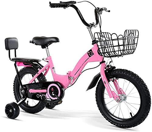 Bicicleta plegable para niños de 12 a 20 pulgadas para niños de 3 a 12 años/con cesta auxiliar rueda/marco tripulado (5 colores) - Rosado_46.7cm/18.3in