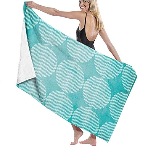 Yaxinduobao Primitive Geometric Orbs Turquoise Watercolor Soft Bath Towel Highly Absorbent Multipurpose Towels Oversized Beach Towel for Travel Bathroom Hotel Gym Spa 31'x 51'
