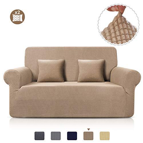 TAOCOCO Sofa Überwürfe Jacquard Sofabezug Elastische Stretch Spandex Couchbezug Sofahusse Sofa Abdeckung in Verschiedene Größe und Farbe (Sand, 2-sitzer(139-175cm))